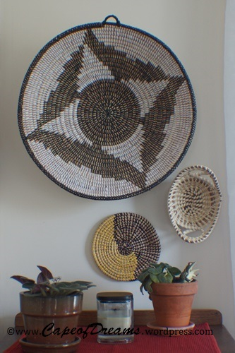 Baskets hung on wall