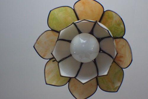 1950's Glass Flower Light Fixture