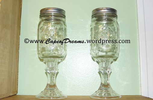 Ball jar wine glasses