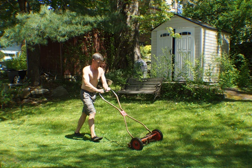 Mowing with push mower
