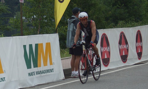 Finishing the Ironman bike with a flat tire