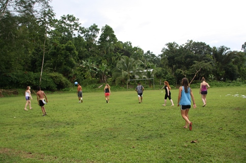 Playing soccer in Costa Rica