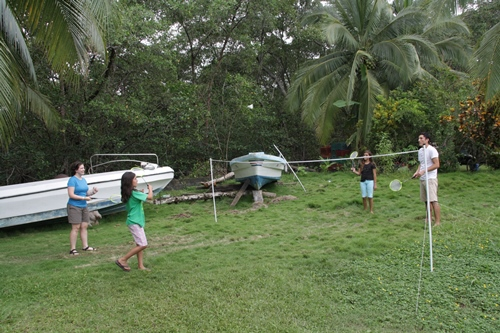 Playing badminton in Costa Rica