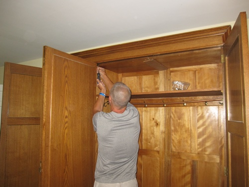 Dismantling the antique wardrobe