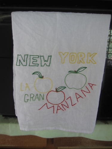 DIY embroidered dish towel