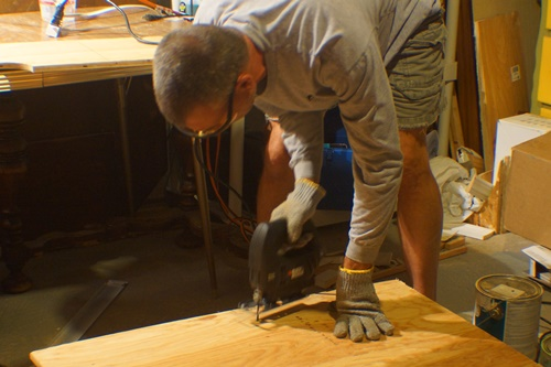Sawing a plywood board