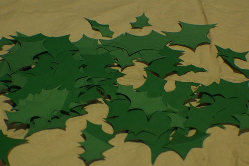 Cutting out leaves for DIY Holly Garland