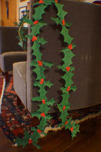 DIY Holly Garland on sofa