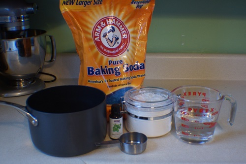 Ingredients for DIY baking soda ornaments