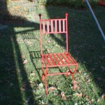 Newly powder coated cast iron chair