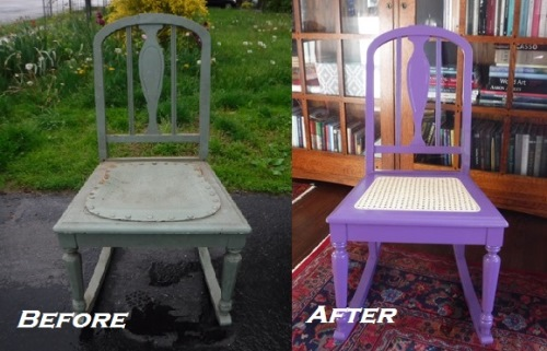 Caning a chair seat - before and after